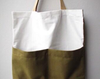 TWO TONE - Tote bag (white & olive green)