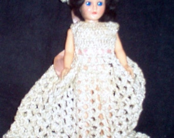 "GORGEOUS VINTAGE 8"" Celluloid DOLL With Stunning Blue Eyes & Rare Crocheted Gown 1960s"