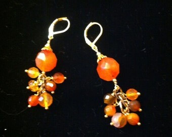 Reds to yellows  cluster earrings.  Carnelians