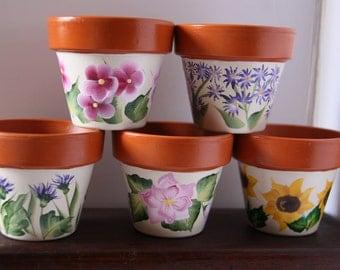 Mini Flower Pots, Mini Pots, hand painted flower pots, flower pots, hand painted pots, small pots, party favors, shower favors, wedding