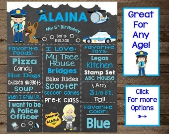 Girl's police chalkboard, policeman birthday party, police theme party, policeman chalkboard sign, girl third, fourth, fifth sixth birthday