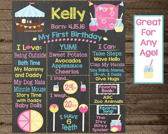 Girls Birthday Chalkboard Sign Poster, Lemonade Stand, Lemonade Birthday Theme, Pink and Yellow, Girls Birthday Decoration, Lemonade Sign