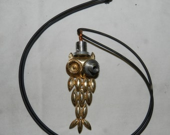 Steampunk inspired Owl Necklace with gear shaped Top Hat and Monicle - One of a Kind - Found / Altered / Assembled Art                  W-5