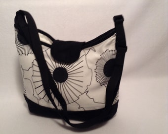 Crossbody Hobo Bag- Bucket bag, Purse, Tote bag, Black and white bag, Handbag, 2 Delany Designs