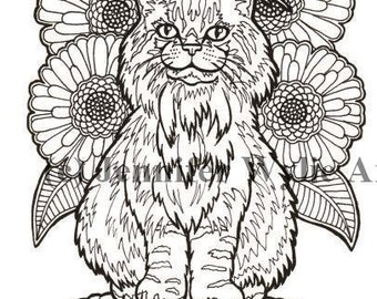 maine coon cat colouring page coloring book printable adult coloring hand drawn
