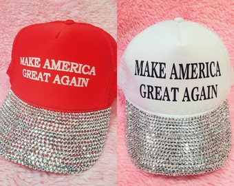 AUTHENTIC Make America Great Again Rhinestone Bling Hat - Donald Trump for President 2016