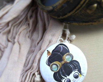 Round badge Steampunk - accessory - Illustration