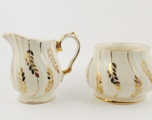 Two piece Matching VINTAGE Creamer and Sugar Dish, SADLER White with Gold Plated, England