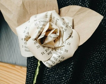 Paper rose buttonhole, literary wedding buttonierre, upcycled male wedding attire, eco wedding accessory for him, groomware, mens fashion