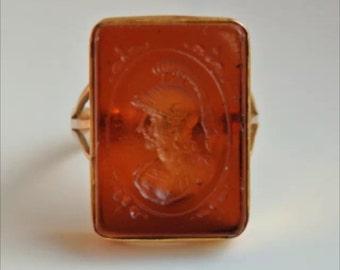 Beautiful carnelian glass gold intaglio ring