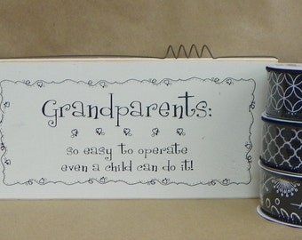 Grandpareants  5.5 x 12 wood sign with 3 coordinating ribbons