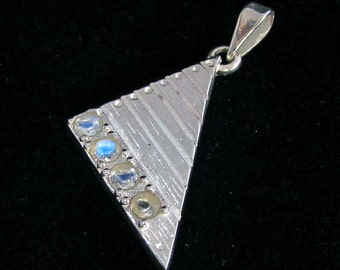 Sterling silver Triangle pendant with 4 blue fire Moonstone gemstones