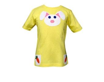 SALE, Girls Bunny T-Shirt 4-5 years, Custom Made T-Shirt, Applique, Fair Trade, Handmade Children's Clothing, Kids, Toddler, Bunny T-Shirt