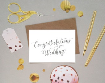Congratulations on your wedding card in a beautifully handwritten calligraphy lettering, UK