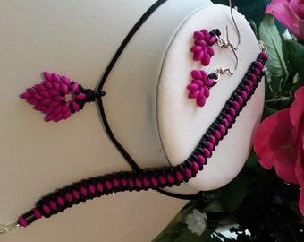 Czech Pink Neon & Black Frost Jewellery Set