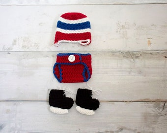 Crocheted Montreal Canadian Hockey Team, Newborn Costume, Newborn, Photo Prop, Baby Costume, Cake Smash, Skates, Newborn Photography