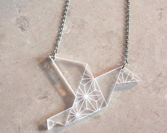Collier mi long 'Zélie' in plexi so origami