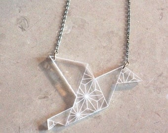"Necklace mi long ""Zelie"" plexi way origami"