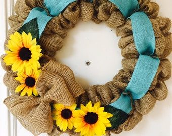 Sunflower Wreath with any color ribbon