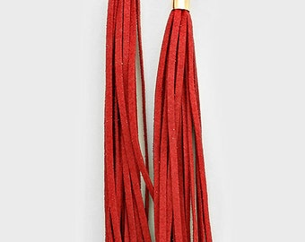 Red Tassel Stud Earrings