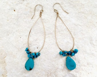 Turquoise Teardrop Earrings, 14k gold-fill
