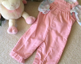 Vintage Health-tex Knit Shirt and Corduroy Overalls  (9 mos) in Pink/White/Pastels