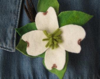 White Wool Dogwood Blossom Pin