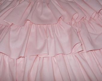 3 Tier Ruffled Crib Skirt Soft Pink Baby Girl Crib Bedding  FREE SHIPPING