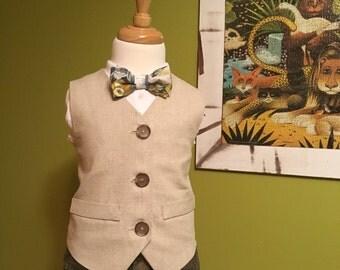 Boys Natural Linen Vest | Ring Bearer | Shabby Chic Wedding | Toddler Vest | Tan Vest | Boys Linen Waistcoat | Beige Boys Vest