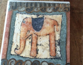 hand painted elephant tiles, pair of two