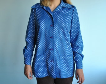 Size XL polka dot 70s polyester button up