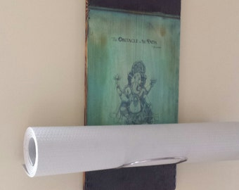 Ganesh Inspirational Yoga Mat Holder, yoga studio, yoga gifts, yoga decor, handmade,wall mounted yoga holder