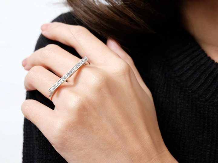 Women Two Finger Ring Minimalist Retro Statement Double