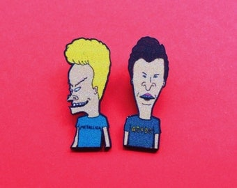 1 Pairs Beavis & Butthead acrylic Pin,Lapel  Pin,mtv,music,rock,metal,punk metallica,ACDC,bootleg