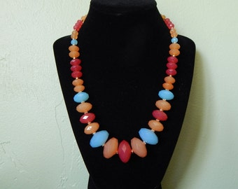 Necklace, beaded necklace, summer accessory, red, orange and blue - Calypso