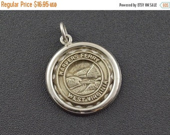 ON SALE Harpers Ferry West Virginia Round Charm / Pendant Sterling Silver 2g Vintage Estate