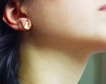 little gold earrings, Cat  shaped