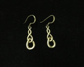 Vintage Pierced Earings, 925, Dangle, Goldtone