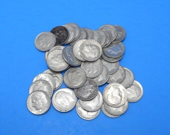1964 Roosevelt Dimes - 90% silver - 40 pieces - normal circulated condition