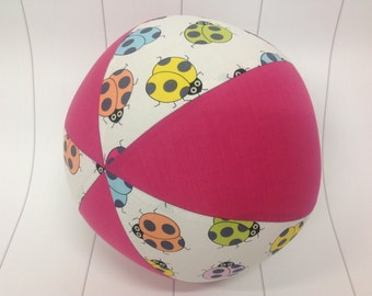 Balloon Ball Cover 30cm Round, bugs with hot pink panels, Eumundi Kids