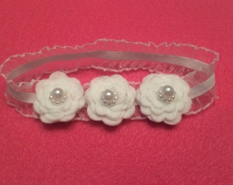 Three little white flowers headband