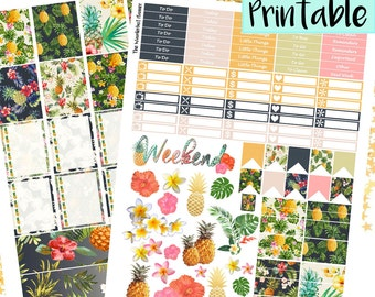 Tropical Pineapple Printable Weekly Sticker Kit | Pineapple Stickers, Printable PDF Erin Condren Lifeplanner, INSTANT DOWNLOAD