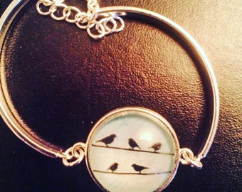 "Bracelet Silver ""birds on the wire"""