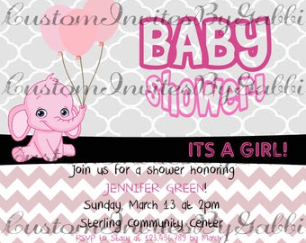 baby girl shower invitation (elephant and balloons)