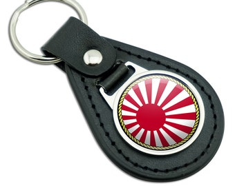 Flag of Japan Sun Rising Black Leather Metal Keychain Key Ring