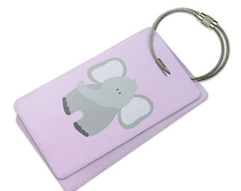Elephant Cute Pastel Suitcase Bag ID Luggage Tag Set