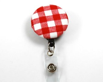 RED CHECKERS Fabric Badge Reel, Retractable Badge Reel, Button Badge Reel