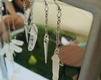 Sterling silver. Long dangling earrings featuring a piece of quartz and spike. Edgy. Monochromatic. Unique. Made to order.