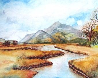 "Mountain Meadow Original Watercolour 10""x14"""