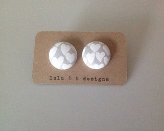 Heart fabric covered button earrings